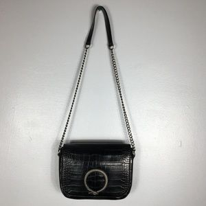 ZARA Black Chain CROC Embossed Shoulder Bag
